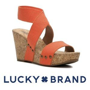 Lucky Brand Coral Cork Mazyne Size 8.5 Wedges